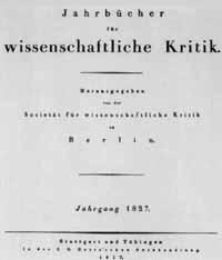Titelblatt Jahrbücher für wissenschaftliche Kritik