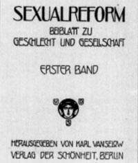 """Titelblatt """"Sexualreform"""""""