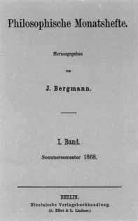 Titelblatt Philosophische Monatshefte