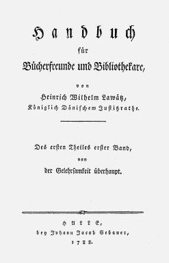 Titelblatt: Handbuch für Bücherfreunde