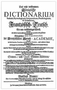 Titelblatt: Dictionarium Frantz�sisch-Teutsch