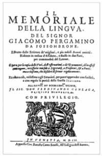 Titelblatt: II memoriale della lingua