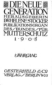 Titelblatt 'Die neue Generation', 4. Jg.
