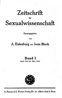 Titelblatt 'Zeitschrift für Sexualwissenschaft'