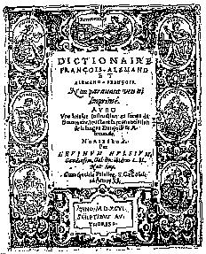 Titelblatt:Dictionaire Francois Allemand et Allemand Francois
