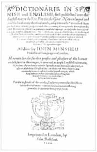 Titelblatt: Richard Percyvall / John Minsheu: A dictionarie in Spanish and English