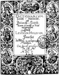Titelblatt:Dictionarium Teutsch-Italiänisch und Italiänisch Teutsch