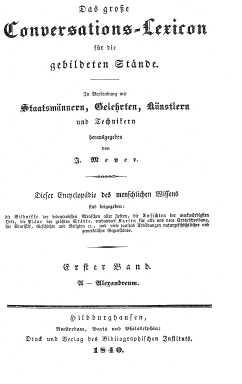 Titelblatt: Das gro�e Conversationslexikon für gebildete Stände