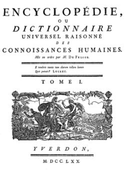 Titelblatt: Encyclop�die, ou Dictionnaire universel raisonn� des connoissances humaines
