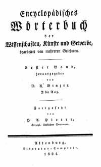 Titelblatt: Pierers Enzyklopädisches Wörterbuch