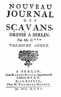Titelblatt: Nouveau Journal des Sçavans