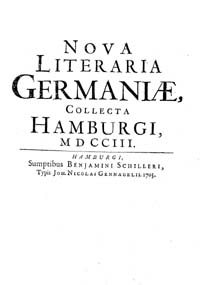 Titelblatt 'Nova literaria germaniae collecta Hamburgi'