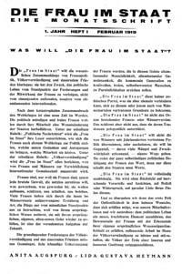Titelblatt 'Die Frau im Staat'