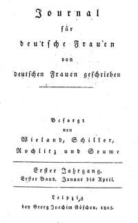 Titelblatt 'Journal f deutsche Frauen'
