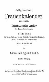 Titelblatt Allgemeiner Frauenkalender