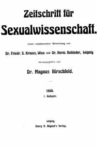 Titelblatt Zeitschrift für Sexualwissenschaft