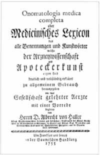 Titelblatt: Onomatologia medica completa oder Medicinisches Lexicon