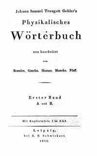 Titelblatt: Physikalisches Wörterbuch