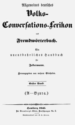 Titelblatt: Allgemeines deutsches Volks-Conversations-Lexikon und Fremdwörterbuch