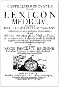 Titelblatt: Bartholommeo Castelli: Lexicon medicum graeco-latinum