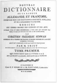 Titelblatt: Christian Friedrich Schwan: Nouveau Dictionnaire de la Langue Fran�oise et Allemande
