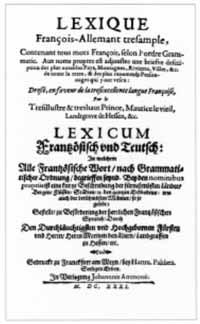 Titelblatt: Moritz von Hessen: Lexicum Frantzösisch und Teutsch