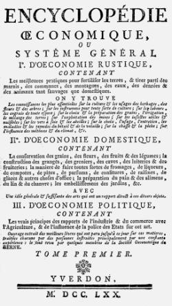 Titelblatt: Encyclopédie oeconomique