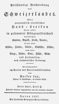 Titelblatt: Vollständige Beschreibung des Schweizerlandes