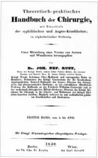 Titelblatt: Johann Nepomuk Rust (Hg.): Theoretisch-praktisches Handbuch der Chirurgie