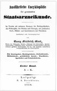 Titelblatt: Georg Friedrich Most: Ausführliche Encyklopädie der gesammten Staatsarzneikunde