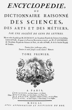 Titelblatt: Encyclopédie ou dictionnaire raisonné des sciences, des arts et des métiers