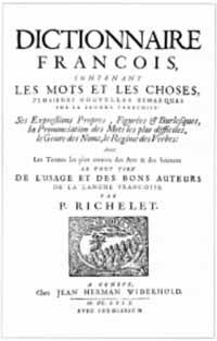 Titelblatt: César-Pierre Richelet: Dictionnaire françois contenant les mots et les choses
