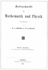 Titelblatt Zeitschrift für Mathematik und Physik