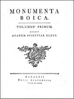 "Titelblatt ""Monumenta Boica"""