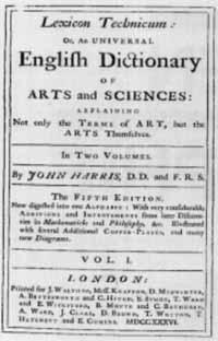 Titelblatt: John Harris: Lexicon Technicum