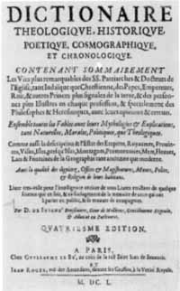 Titelblatt: D. de Juigné-Broissinière: Dictionaire theologique, historique, poetique, cosmographique et chronologique
