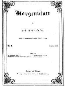 """Titelblatt """"Morgenblatt"""""""