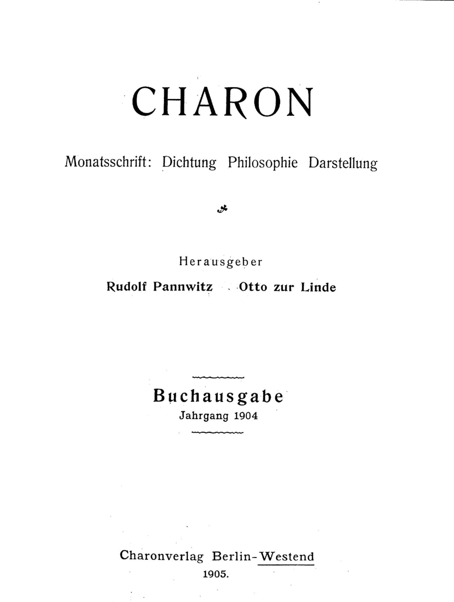 Titelblatt »Charon«
