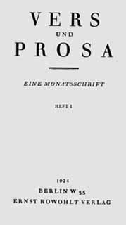 Titelblatt »Vers und Prosa«