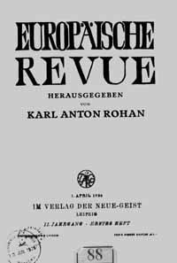 Titelblatt »Europäische Revue«