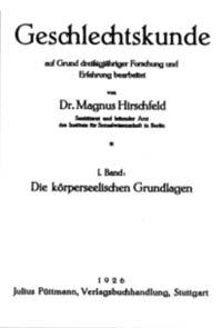 "Titelblatt ""Magnus Hirschfeld: Geschlechtskunde"""