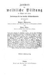 """Titelblatt """"Zeitschrift für weibliche Bildung"""""""