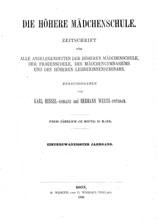 """Titelblatt """"Die Mädchenschule"""""""