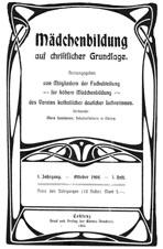 """Titelblatt """"Mädchenbildung auf christlicher Grundlage"""""""