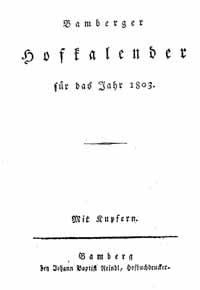 Titelblatt: Bamberger Hofkalender