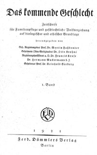 """Titelblatt """"Das kommende Geschlecht"""""""