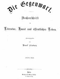 Titelblatt »Gegenwart«