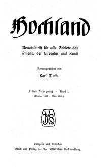 Titelblatt »Hochland«
