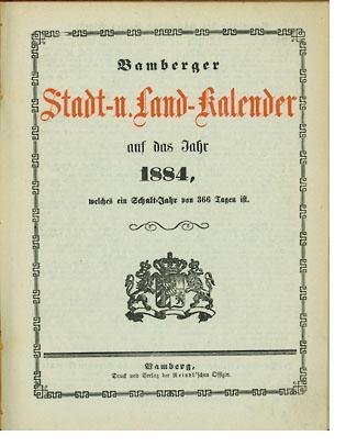 Bild: Bamberger Stadt- u. Land-Kalender auf das Jahr 1884