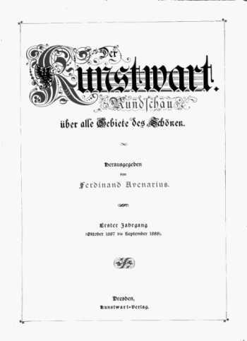 Bild: Der Kunstwart, Titelblatt
